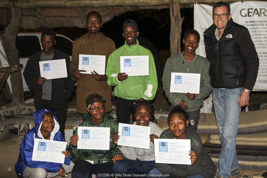 Pupils with certificates. Picture taken by Prisence Mashaba during residential photography course organised by Wild Shots Outreach. Kruger National Park, South Africa, June 2017.