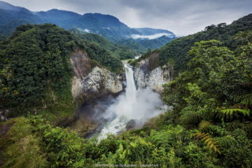 The San Rafael waterfall, the biggest falls in Ecuador, located on the boundary of the Amazon with The Andes. San Rafael, Napo, Ecuador