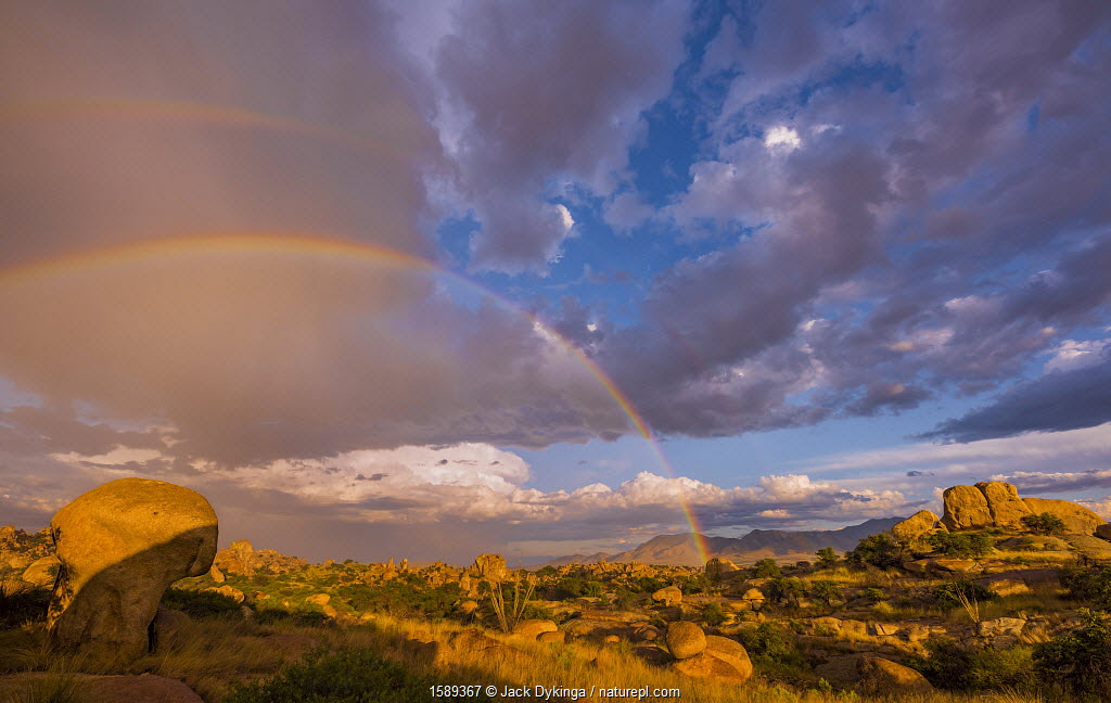 Storm clouds and rainbow over the boulders in Texas Canyon, Dragoon Mountains, Chihuahuan Desert, Arizona, USA, September 2017.