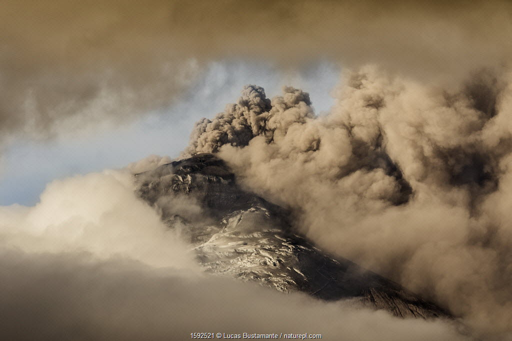 July 2018 Plume of ash over the erupting Cotopaxi Volcano, Cotopaxi National Park, Cotopaxi, Ecuador, August 2015.
