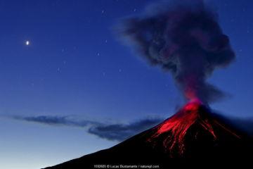 Tungurahua Volcano erupting at dawn, Ecuadorian Eastern Slopes, Tungurahua, Ecuador