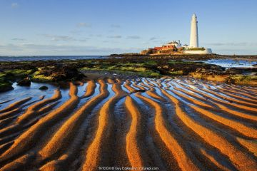 St. Mary's Lighthouse, Whitley Bay, Tyne and Wear, England, UK, March.