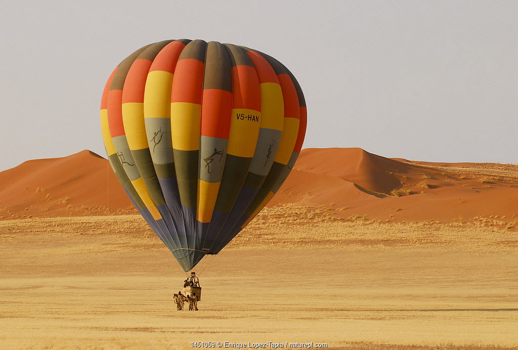 Hot air balloon landing after ride over the Namib desert, Namibia, February