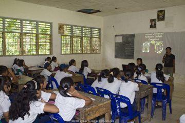 Sumatran Orangutan Society presentation at local school, North Sumatra, Indonesia.
