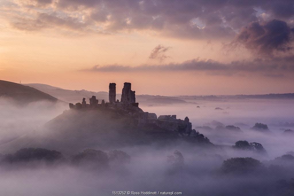 Corfe Castle, early morning llight and mist, Corfe Castle, Dorset, UK. September 2014.