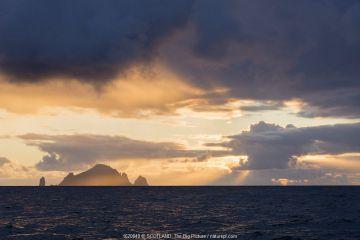 Islands of Boreray and Stac Lee, St Kilda, Outer Hebrides, Scotland, UK, summer 2015.