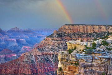 Rainbow over canyon cliffs, Wotan's Throne, Grand Canyon, Arizona