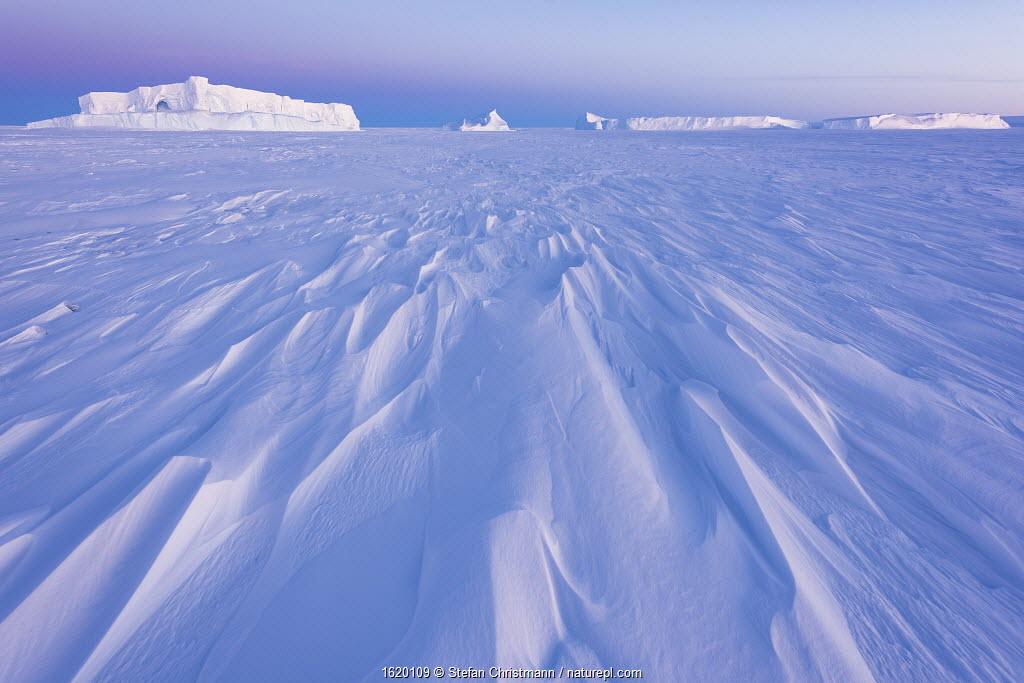 Frozen landscape with icebergs, Atka Bay, Queen Maud Land, Antarctica. October.