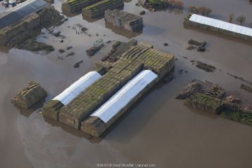 Aerial view of a flooded farm with straw bales covered with white sheeting, surrounded by fuel oil in the water, Fishlake, South Yorkshire, UK. November 2019.