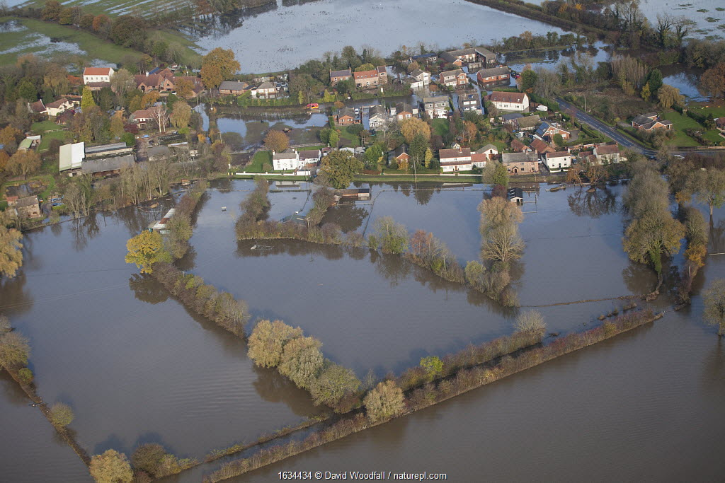 Aerial view of River Don showing flooded areas, Fishlake, South Yorkshire, UK. November 2019.