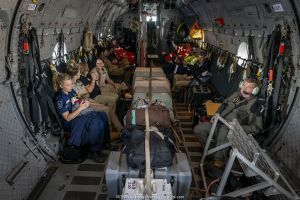 Inside of a Royal Australian Airforce (RAAF) C-27J Spartan that is transporting 6 koalas (Phascolarctos cinereus) that were burnt in the Mallacoota (Victoria, Australia) bushfires and are now being evacuated from the Mallacoota wildlife triage centre to Melbourne for further treatment by Zoos Victoria veterinarian staff. Six koalas were evacuated that day by the air force. In flight between Mallacoota (Victoria, Australia) and East Sale RAAF Base, Sale, Victoria, Australia. January 2020.