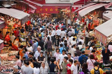 Looking down over crowded market scene, Wan Chai, Hong Kong, China 2007