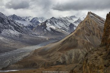 Spiti river valley and mountains around Key seen from Gette, Cold Desert Biosphere Reserve, Himalaya mountains, Himachal Pradesh, India, February