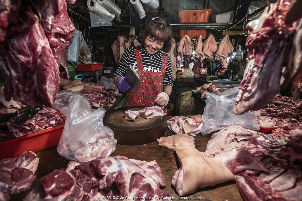 Woman at an early-morning 'wet market' or produce market, carves up pig meat for sale in Taipei, Taiwan, January 2019.