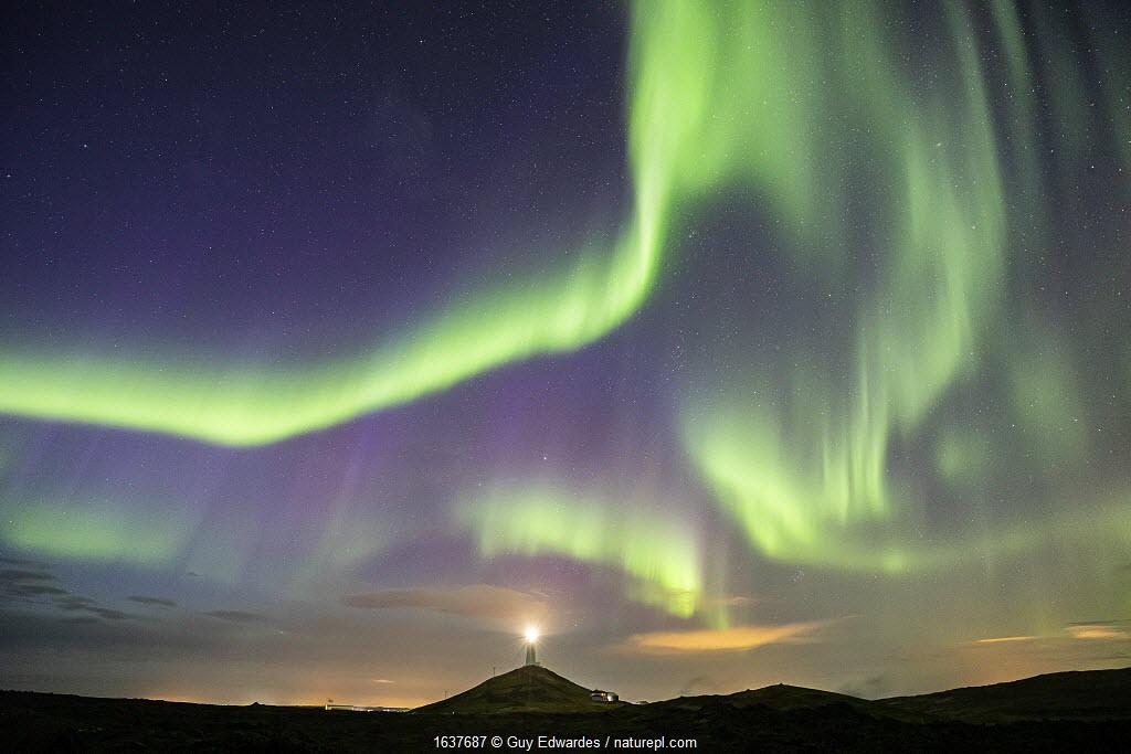 Aurora Borealis over Reykjanes Lighthouse, Reykjanes Peninsula, Iceland