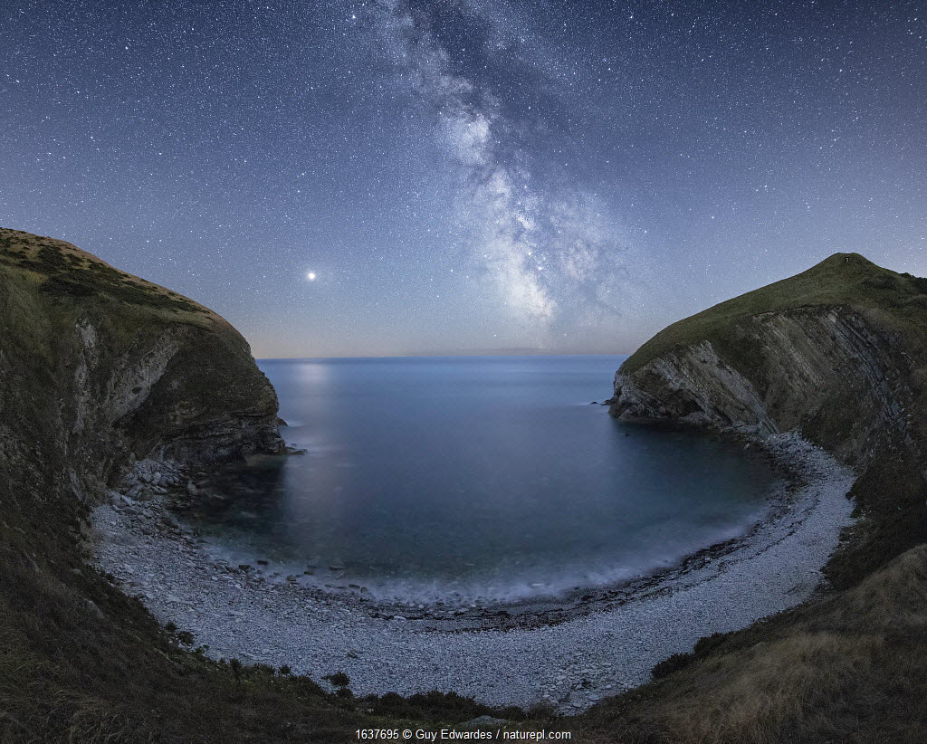 Milky Way and Mars over Pondfield Cove, Tyneham, Jurassic Coast World Heritage Site, Dorset, England, UK, August.
