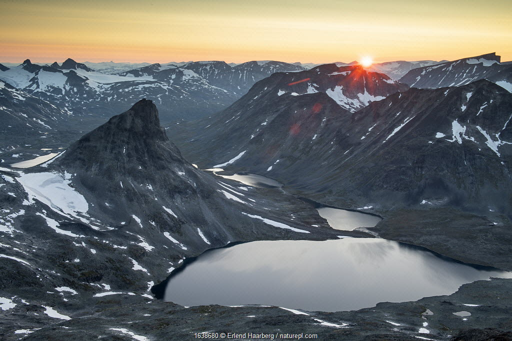 Mount Kyrkja at sunset, viewed from Visbretinden, Jotunheimen National Park, Norway, July.