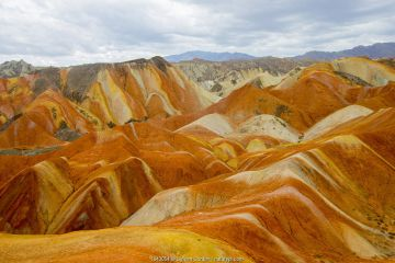 Rainbow Mountains, strata within eroded hills of sedimentary conglomerate and sandstone. Zhangye National Geopark, China Danxia UNESCO World Heritage Site, Gansu Province, China. 2018.
