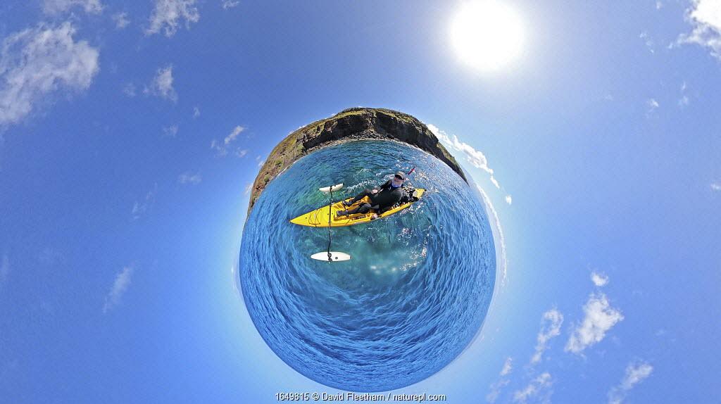 Selfie taken by photographer David Fleetham on a kayak, the Pali, Hawaii.