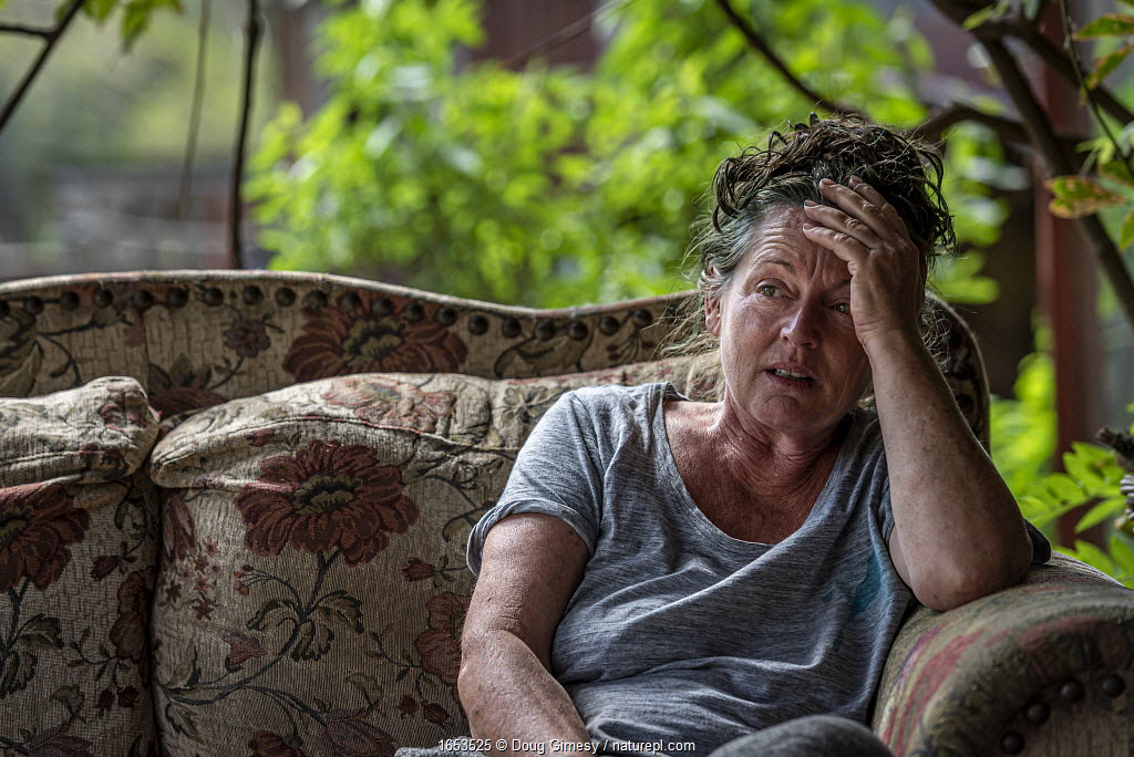 Sharon Small, one of the founders of Goongerah Wombat Orphanage, sitting at home after the 2019/20 bushfires devastated the area.