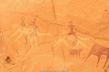 Ancient cave paintings. Ennedi Natural and Cultural Reserve, UNESCO World Heritage Site, Chad. September 2019.