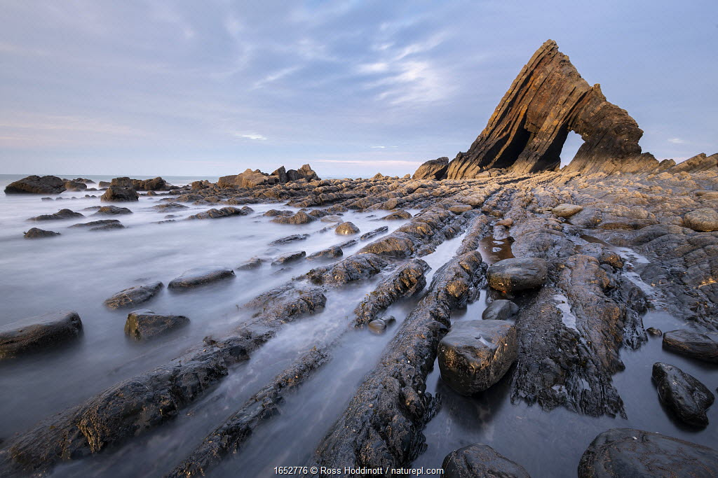 Blackchurch Rock at Mouth Mill, near Browhsham / Clovelly, last light, North Devon, UK. April 2019.