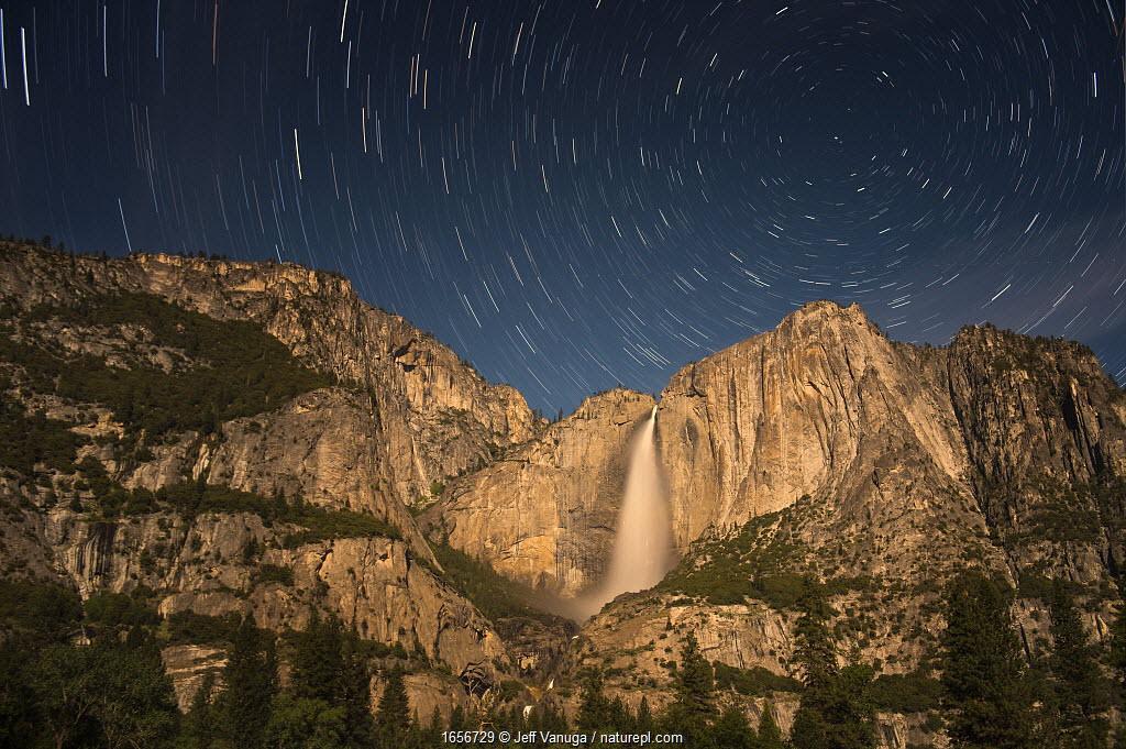 Stars over Yosemite Falls, Yosemite National Park, California, USA. May 2014.