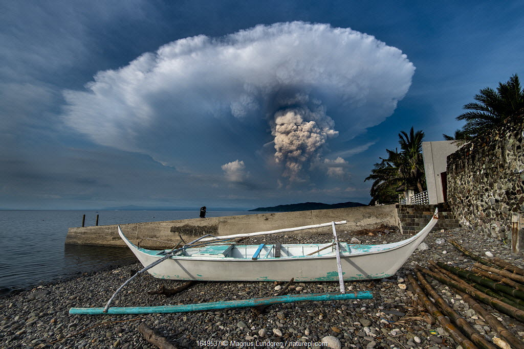 Eruption of Taal Volcano viewed from Anilao in Batangas, Philippines. January 12, 2020 Minimum fees apply.