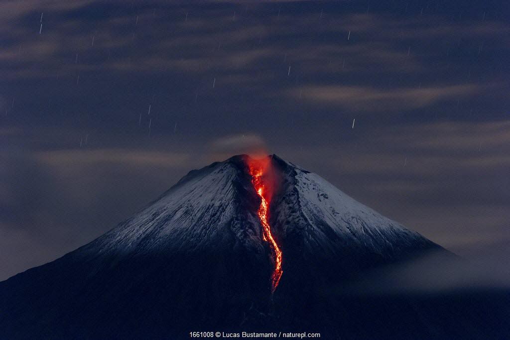 Sangay volcano erupting at night. Sangay National Park, Morona Santiago, Ecuador. June, 2020.