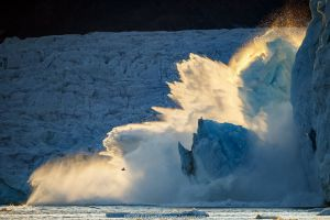 Lilliehook glacier, calving sequence 1/2. Spitsbergen, Svalbard, Norway. 25th July 2020.