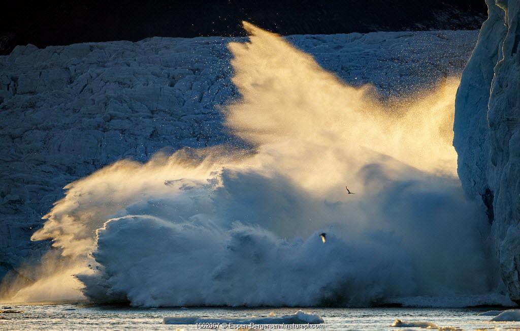 Lilliehook glacier, calving sequence 2/2. Spitsbergen, Svalbard, Norway. 25th July 2020.