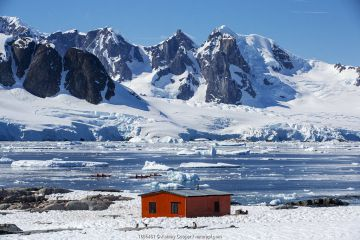 Gentoo penguin (Pygoscelis papua) colony on rocks around hut on Petermann Island, tourists from expedition cruise ship sea kayaking in Southern Ocean. Mountains of Graham Land in background. Antarctica. December 2019.