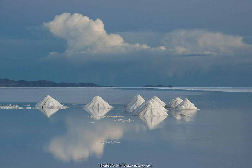 Salt cones on the Salar de Uyuni, Bolivia. March. The Salar is the world's largest salt flat, at over 10500 square kilometers. Salt is shoveled into these cones, to be collected later.