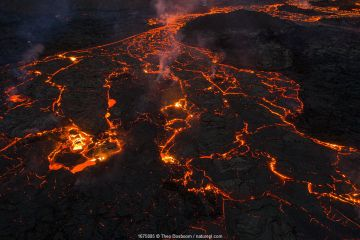 Aerial image of the lava field at the Fagradalsfjall volcano, Iceland, 31 March 2021.