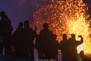 Group of tourists silhouetted against volcanic eruption, gathered at one of the viewing points close to the craters of the Fagradalsfjall volcano on Iceland. The best viewing points differ from day to day, dependent on the wind direction. Stewards from the the Icelandic Association for Search and Rescue (ICE-SAR) ensure that people do not get too close. Image taken 1 April 2021.