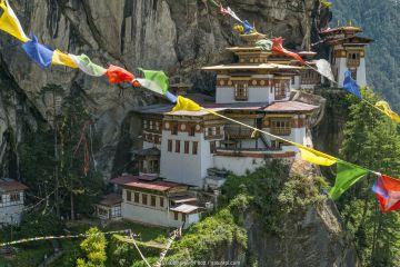 Paro Taktsang / Tiger's Nest Buddhist monastery perched on cliffs with prayer flags. Bhutan. September 2013.