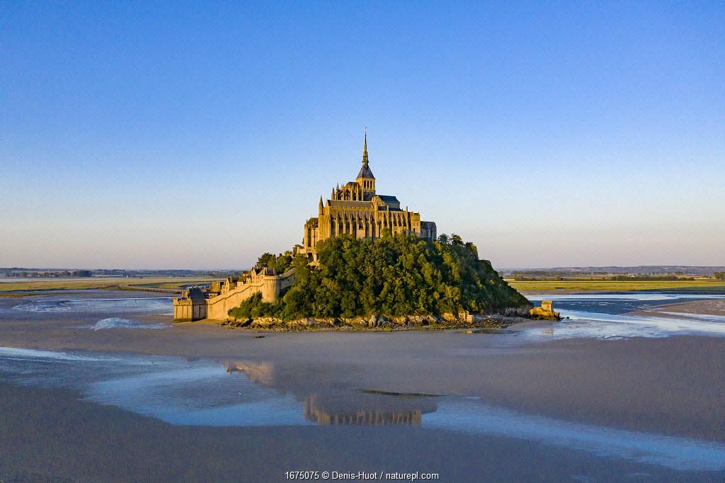 Mont-Saint-Michel at low tide, Normandy, France. July 2019.