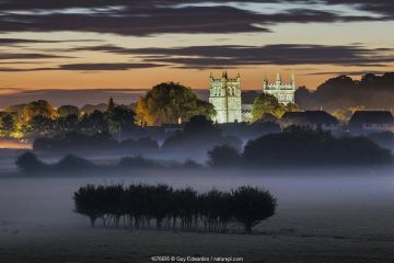 Wimborne Minster at dawn, Dorset, England, UK. July 2020