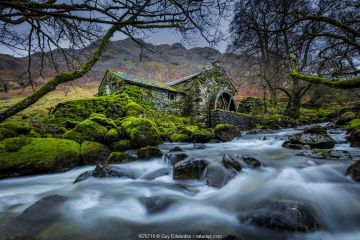 Disused water mill, Borrowdale, Lake District National Park, Cumbria, England, UK. December 2020