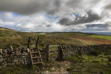 Stile on Hadrian's Wall path, Northumberland National Park, UK, October 2020