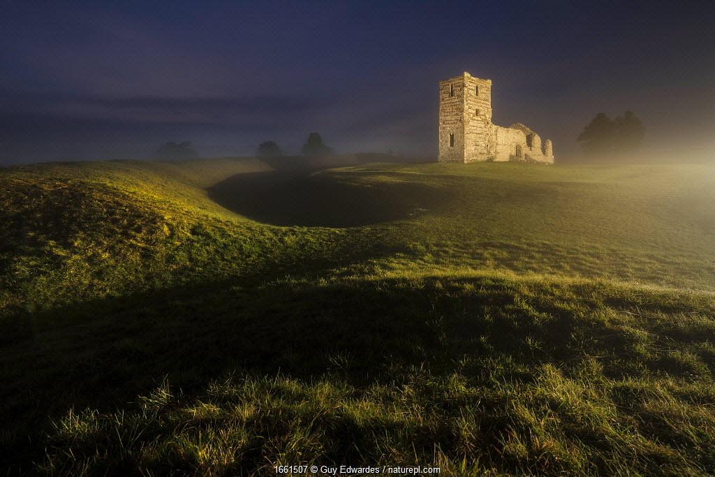 Knowlton Church at night, Dorset, England, UK, December 2016.