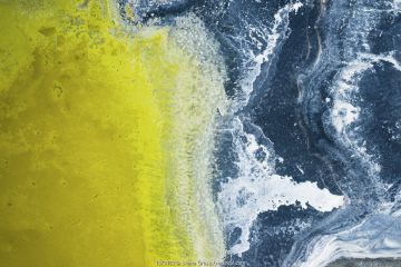 Aerial view of Drying out salt lake, called Old Wives Lake, Saskatchewan, Canada.