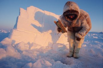Inuit hunter in traditional winter fur clothing jigging for polar cod through a hole in the sea ice. Inglefield Bay. Northwest Greenland. (1998)