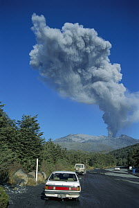 Mount Ruapehu eruption in 1996, seen from Whakapapa Village, Northwest Slope, Tongariro National Park, New Zealand  -  Tui De Roy