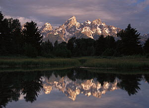 Grand Teton Range and cloudy sky at Schwabacher Landing, reflected in the water, Grand Teton National Park, Wyoming - Tim Fitzharris
