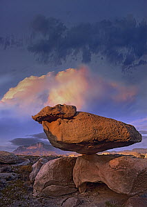 Balancing rock formation, Guadalupe Mountains National Park, Texas  -  Tim Fitzharris