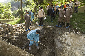 Giant Panda (Ailuropoda melanoleuca) recovery effort, veterinarian, Wang Chengdog, digging to locate Mao Mao's body after the May 12, 2008 earthquake and landslides, CCRCGP, Wolong, China  -  Katherine Feng