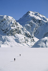 Skiers cross frozen surface of Lake Harris along the Routeburn Track in winter, Mt Aspiring National Park, New Zealand  -  Colin Monteath