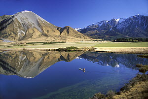 Canoeing on Lake Grassmere on a winter morning, Canterbury, New Zealand  -  Pat Barrett