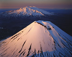 Mt Ngauruhoe in foreground and Mt Ruapehu behind, Tongariro National Park, New Zealand  -  Rob Brown